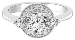 Avi and Co 1.35 cttw Round Brilliant Cut Diamond Halo Engagement Ring 18K White Gold