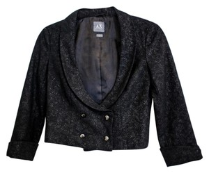 A X Armani Exchange Double Breasted Cropped Black Glitter Sparkle Blazer