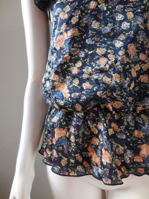 Forever 21 Drop Waist Cold Single Floral Sleeveless Top Navy Blue