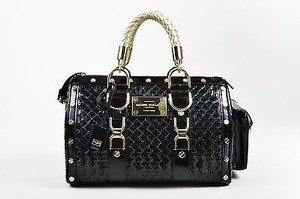 Versace Gianni Patent Leather Quilted Snap Out Of It Satchel in Black