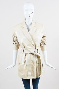 Dior Christian Pearlescent Leather Belted Trench Trench Coat