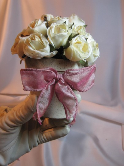 Other Potted Ivory Silk Rose Trio - [ Roxanne Anjou Closet ]