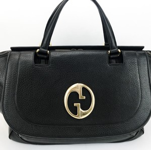 Gucci Pebbled Leather 1973 Satchel in Black