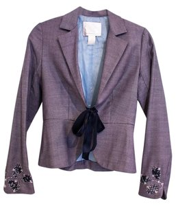 Rebecca Taylor Spring Jacket Striped Navy with Embroidery Blazer