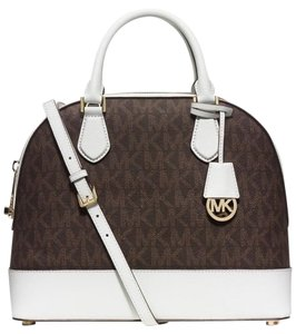 Michael Kors Smythe Signature Dome / Satchel in Brown / White