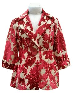 3 Sisters Flocking Sassy Dressy Red & Tan Blazer