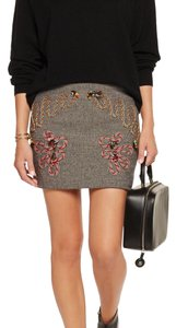 Stella McCartney Mini Skirt Black and white with multicolor embroidery adornment.