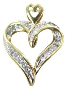 thl 10KT SOLID YELLOW GOLD PENDANT HEART 24 DIAMOND .36 CARAT LOVE THL DESIGNER