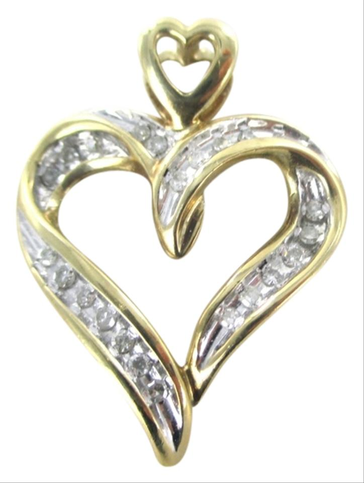 Gold 10kt solid yellow pendant heart 24 diamond 36 carat love gold 10kt solid yellow pendant heart 24 diamond 36 carat love designer charm tradesy aloadofball Images