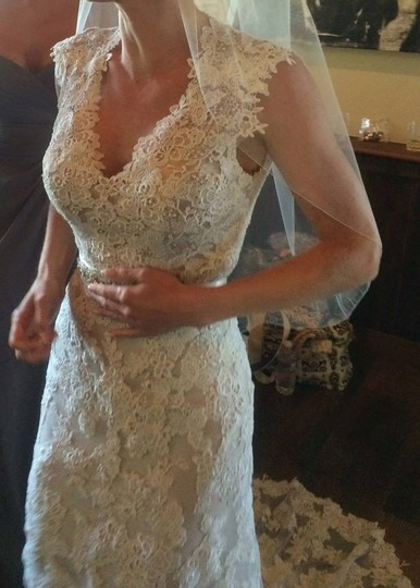 Essense of Australia Ivory Lace and Caf Slipdress with Ivory Sash Over Lustre Satin Slip Style D1566 Vintage Dress Size 4 (S)