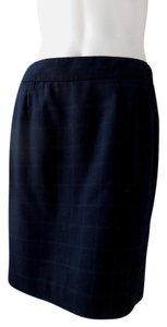 Banana Republic Straight Pencil Lined Suit Skirt Navy Blue