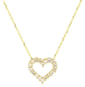 Other 14K Yellow Gold 0.39Ct Diamond Heart Pendant Necklace 1.7 Grams 16