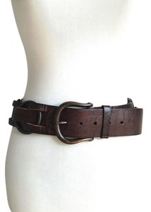 Linea Pelle Linea Pelle Dark Brown Leather Wide Woven Belt