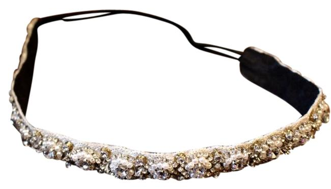 Item - White and Silver Stretchy Beaded Headband Hair Accessory