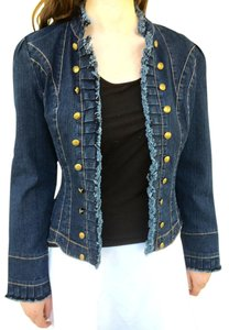VINTAGE COLLECTION JEAN JACKET $140 Tag New Gold Buttons Button Down Shirt BLUE