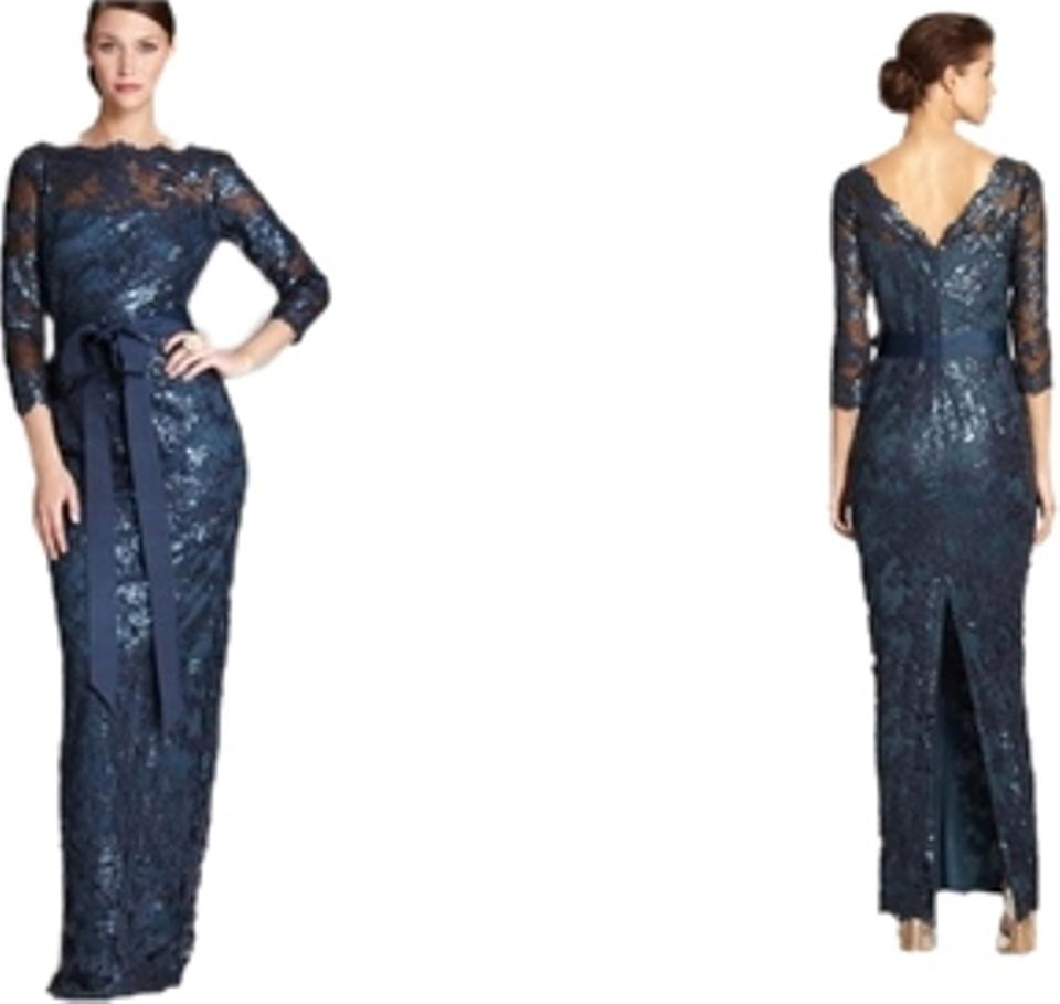 Tadashi Shoji Navy Blue Sequined Lace Gown Long Formal Dress Size 8 ...