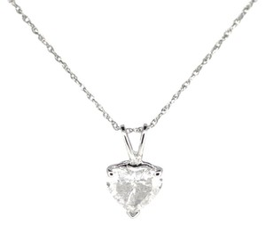 14K White Gold 1.13Ct Heart Diamond Pendant Necklace 1.4 Grams 16