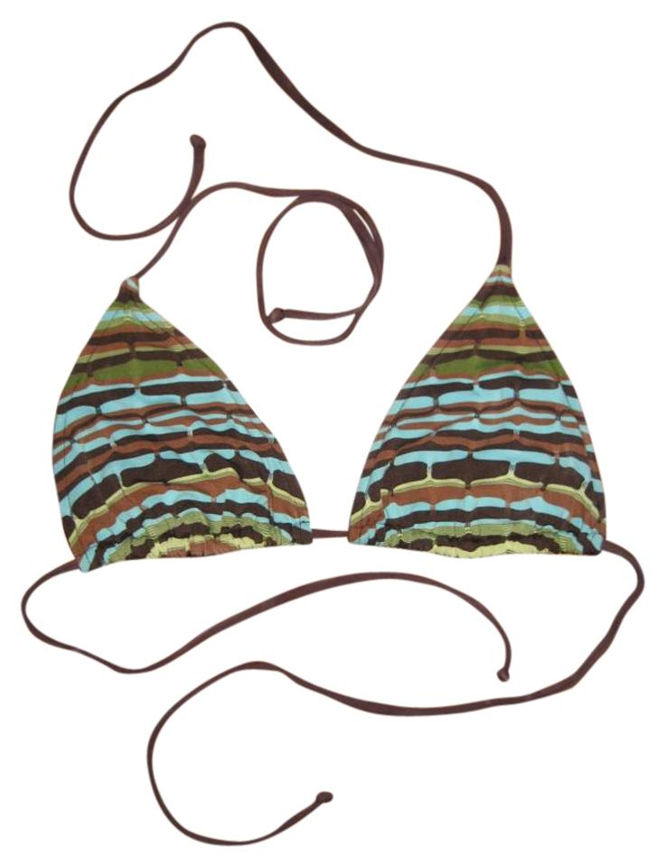 56157b85d709a La Blanca Brown and Turquoise Playa Bikini Top Size 8 (M) - Tradesy