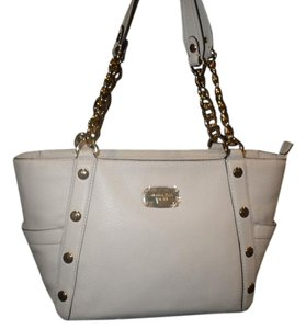 Michael Kors Vanilla Pebble Leather Gold Hardware Satchel in White