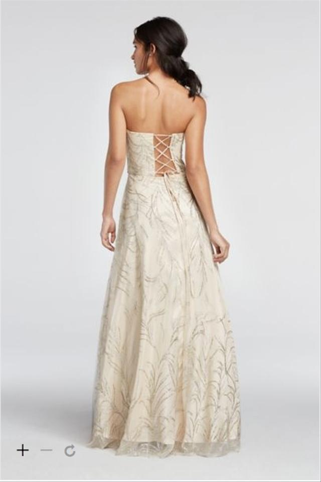 Cachet Champagne/Gold Davids Bridal Gown Brand Style 57686d Long ...