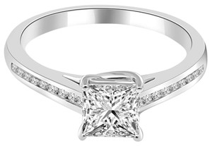 Avi and Co 1.43 cttw Princess Cut Diamond Lucida Style Engagement Ring 18K White Gold