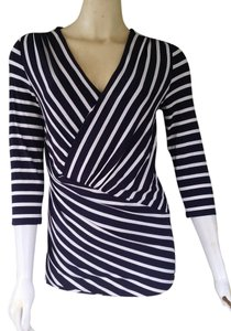 Vince Camuto Striped Stretch 3/4 Sleeves Pull-on Top Navy Blue