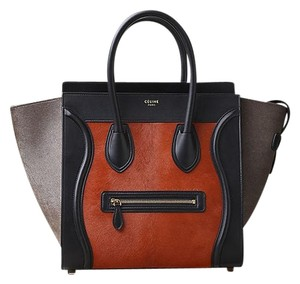 Cline Pony Hair Calf Hair Chic Satchel in Black/Brick/Taupe
