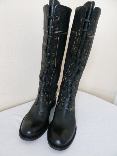 BCBGMAXAZRIA Pebbled Leather Military Style Snug Fit For Size 7 Black Boots