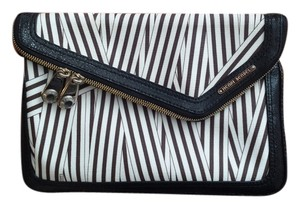 Henri Bendel Striped Brown & White, with Black Clutch