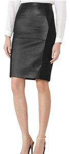 Reiss Leather Pencil Skirt black