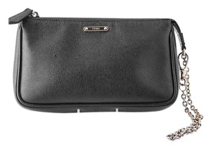 Fendi Leather Wristlet in black