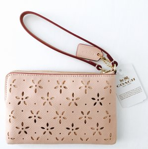 Coach Wallet New Arrival Gift Wristlet in Peach Rose Glitter