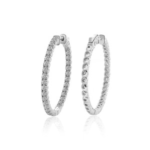 Avital & Co Jewelry 3.25 Carat Eternity Inside Out Diamond Hoop Earrings 14k White Gold