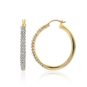 Avital & Co Jewelry 1.00 Carat Diamond Eternity Hoop Earrings 14k Yellow Gold