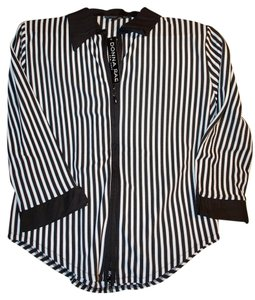Donna Rae Zip-up Clearance Top Black and white striped