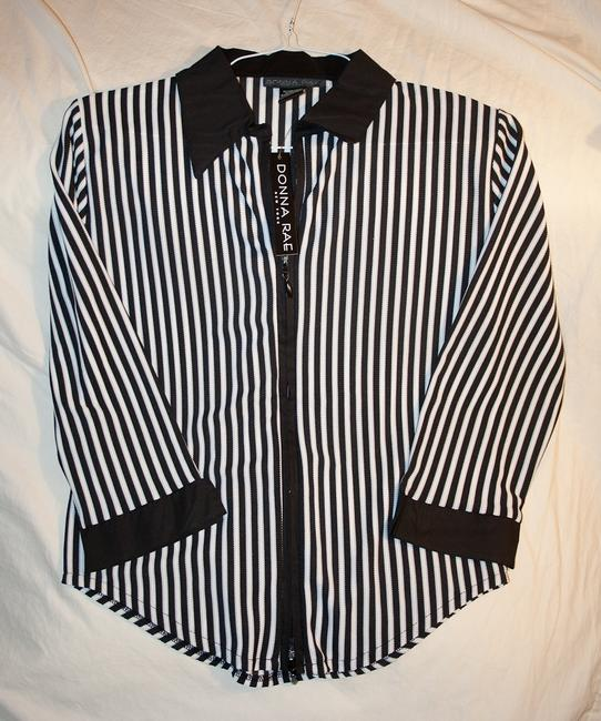 Donna Rae Zip-up Top Black and white striped