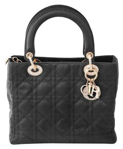 Dior Satin Embellished Tote in black