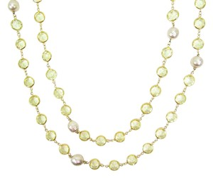 "Chanel Vintage Citrine Crystal and Pearl Gold Plated 76"" Necklace, Sautoir"