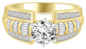 Avi and Co 2.34 cttw Round Brilliant Diamond Accented Engagement Ring in 14K Yellow Gold