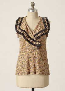 Anthropologie Top Yellow/Gray Floral