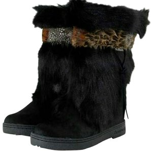 Bearpaw Fur Sheepskin Merino Wool Black Boots