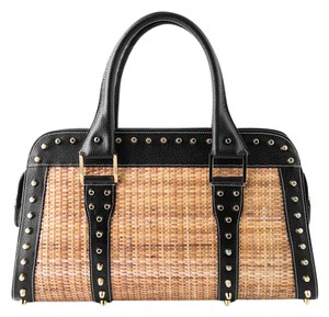 Fendi Straw Leather Satchel Studs Tote in brown/black