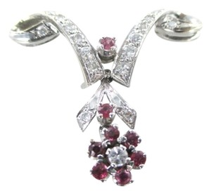 14KT SOLID WHITE GOLD PENDANT 17 DIAMOND .40 CARAT RUBIES RUBY FLOWER FINE JEWEL