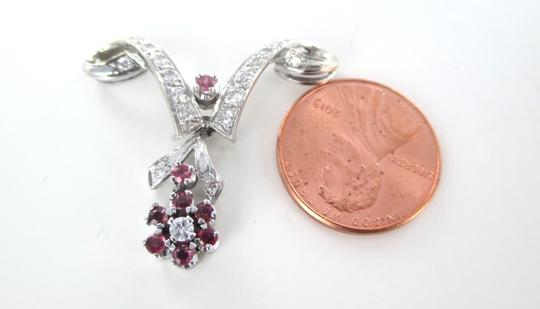 Other 14KT SOLID WHITE GOLD PENDANT 17 DIAMOND .40 CARAT RUBIES RUBY FLOWER FINE JEWEL