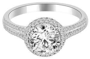 Avi and Co 2.48 cttw Round Brilliant Cut Diamond Halo Engagement Ring 18K White Gold