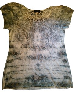 Brittany Black Lace Top Blues, Grays, White