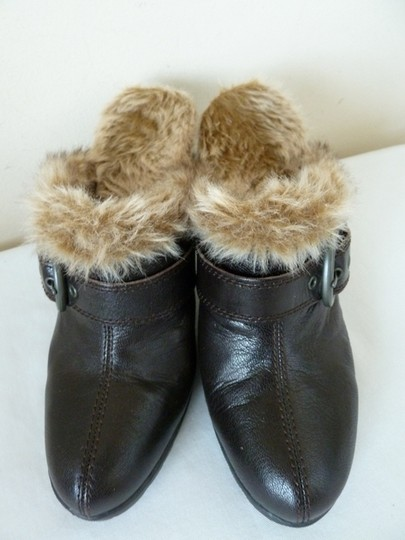 BOC Leather Furry Lined Brown Mules