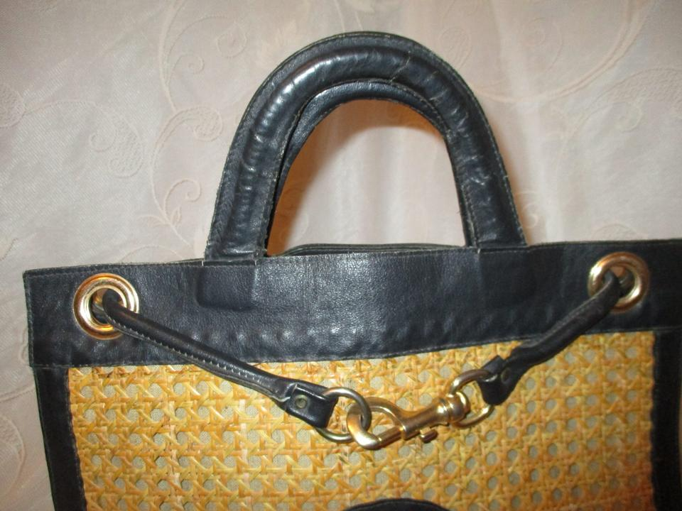 a2afa834d Valentina Vintage And Black & Natural Leather Cane Tote - Tradesy