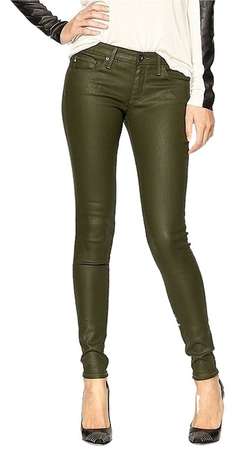 Item - Platoon Army Green Coated The Absolute Legging Wax Stretch Skinny Jeans Size 25 (2, XS)