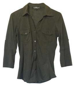 Almost Famous Clothing Button Down Shirt Dark green